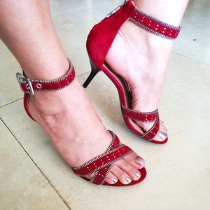 New Rachel Zoe Red Leather Studded Ankle Strap